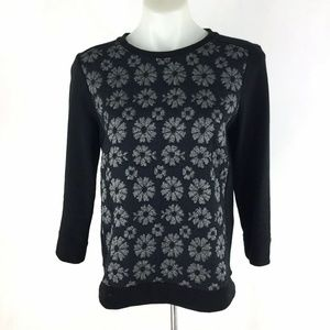 Ann Taylor Sweatshirt Floral Pullover 3/4 Sleeve